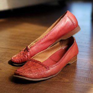 Cole Haan Red Woven Leather Loafers 6.5 B
